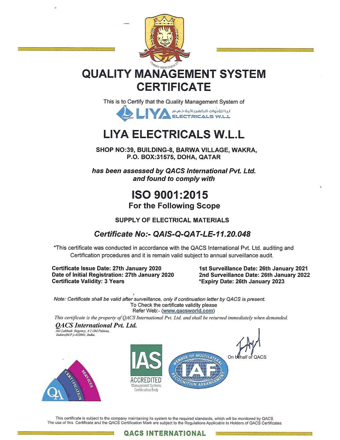 Liya Electricals Iso Certificate